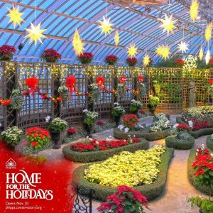 Phipps indoor garden with graphic promoting Home For the Holidays Winter 2020 display