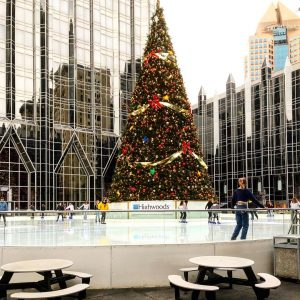 The Rink at PPG Place with Christmas tree and ice skaters from Instagram