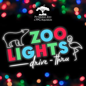 Graphic promoting Pittsburgh Zoo & PPG Aquarium Zoo Lights Winter Holiday Event